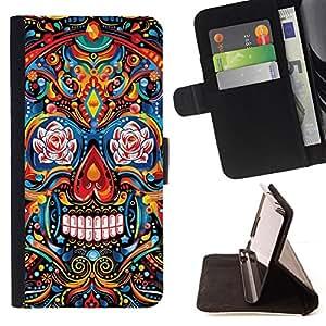 BullDog Case - FOR/Sony Xperia m55w Z3 Compact Mini / - / INDIAN PATTERN FLORAL SKULL DEATH /- Monedero de cuero de la PU Llevar cubierta de la caja con el ID Credit Card Slots Flip funda de cuer