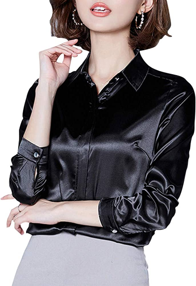 Women's Silk Blouse Long Sleeve Lady Shirt Casual Office Work Blouse Button-Down Shirts Tops