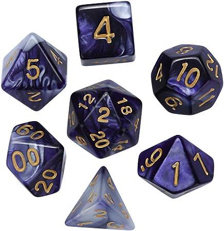 SUKEQ Juego de 7 Piezas de Juego de Dados DND de polihedro D&D Juego de rol Juego Dungeons and Dragons DND RPG MTG Mesa Juegos Dice D20 D12 D10 D8 D4: Amazon.es:
