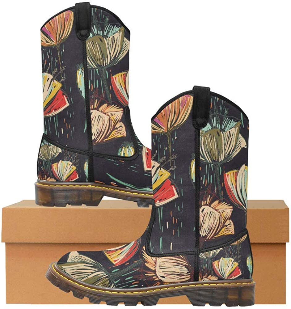 INTERESTPRINT Womens Lumber Boots Girls Colorful Tulips Mid-Calf Winter Boots Combat Booties Shoes