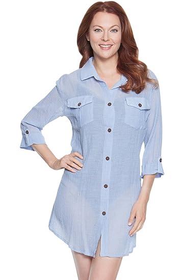 dfcf2bf82e Dotti Sunny Stripe Blue Chambray Shirt Dress Size M at Amazon ...