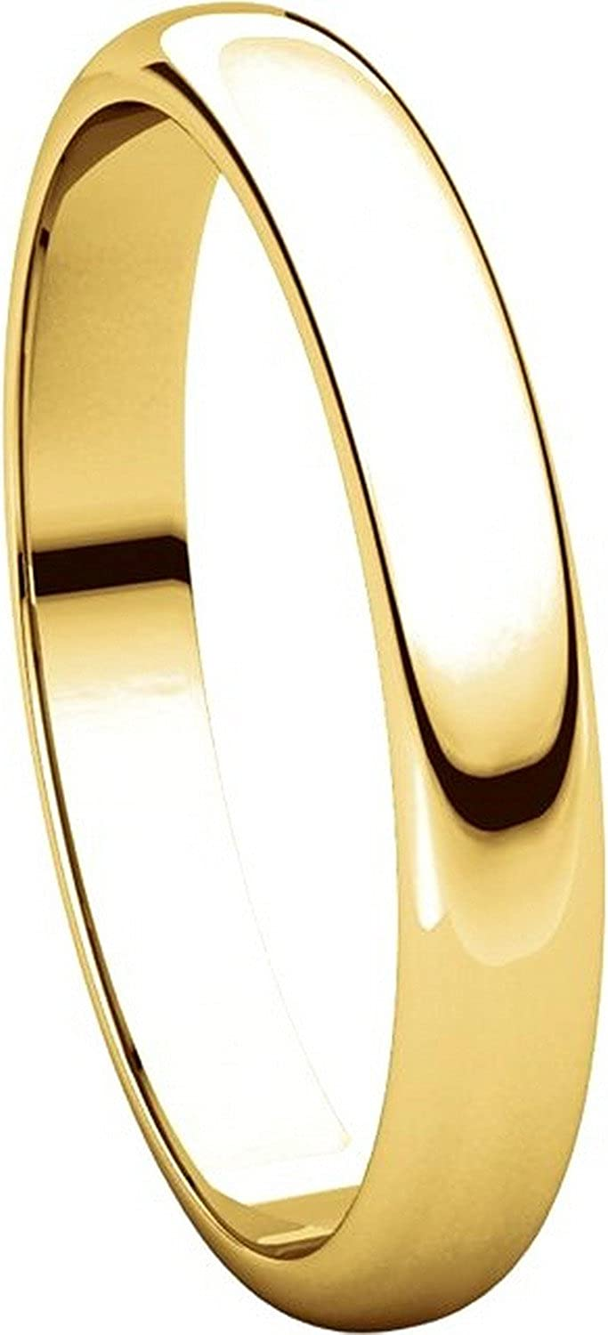 3mm Wide Mens and Womens 14k Yellow Gold Plain Wedding Band High Dome