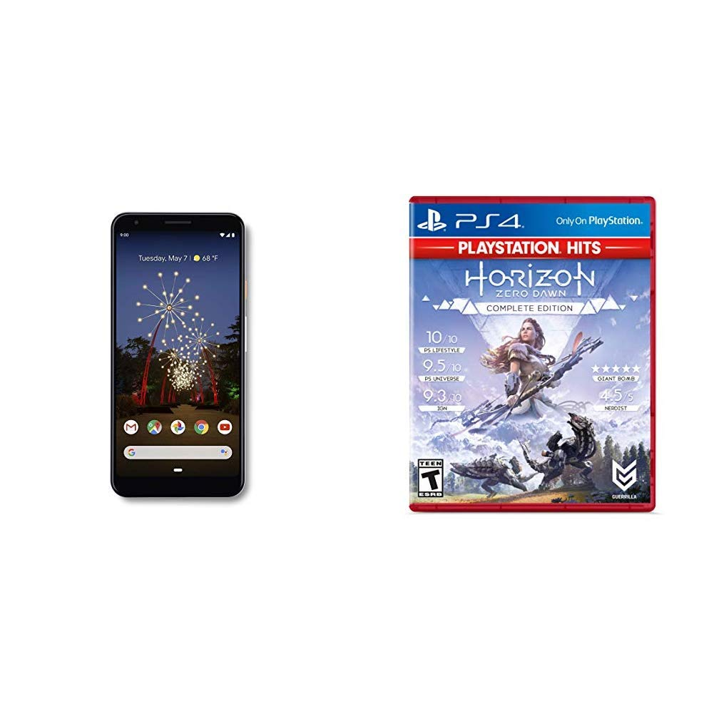 Google - Pixel 3a XL with 64GB Memory Cell Phone (Unlocked) - Clearly White Bundle with Horizon Zero Dawn Complete Edition Hits - Playstation 4