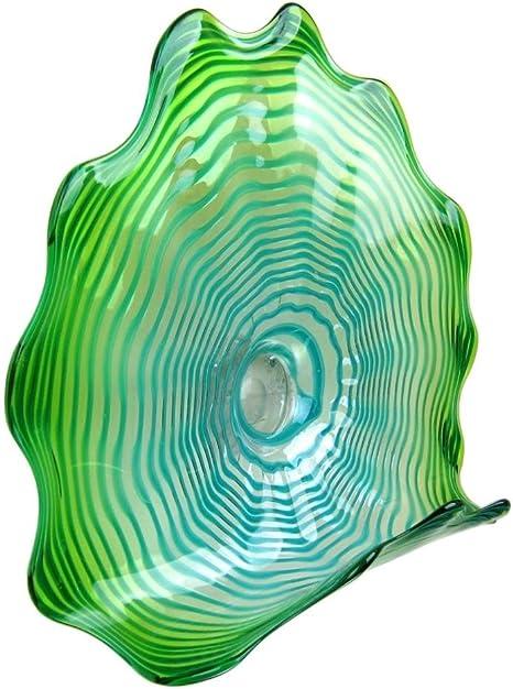 Amazon Com 23 Hand Blown Art Glass Table Platter Plate Green Shelf W Wall Hanging Mount Home Kitchen