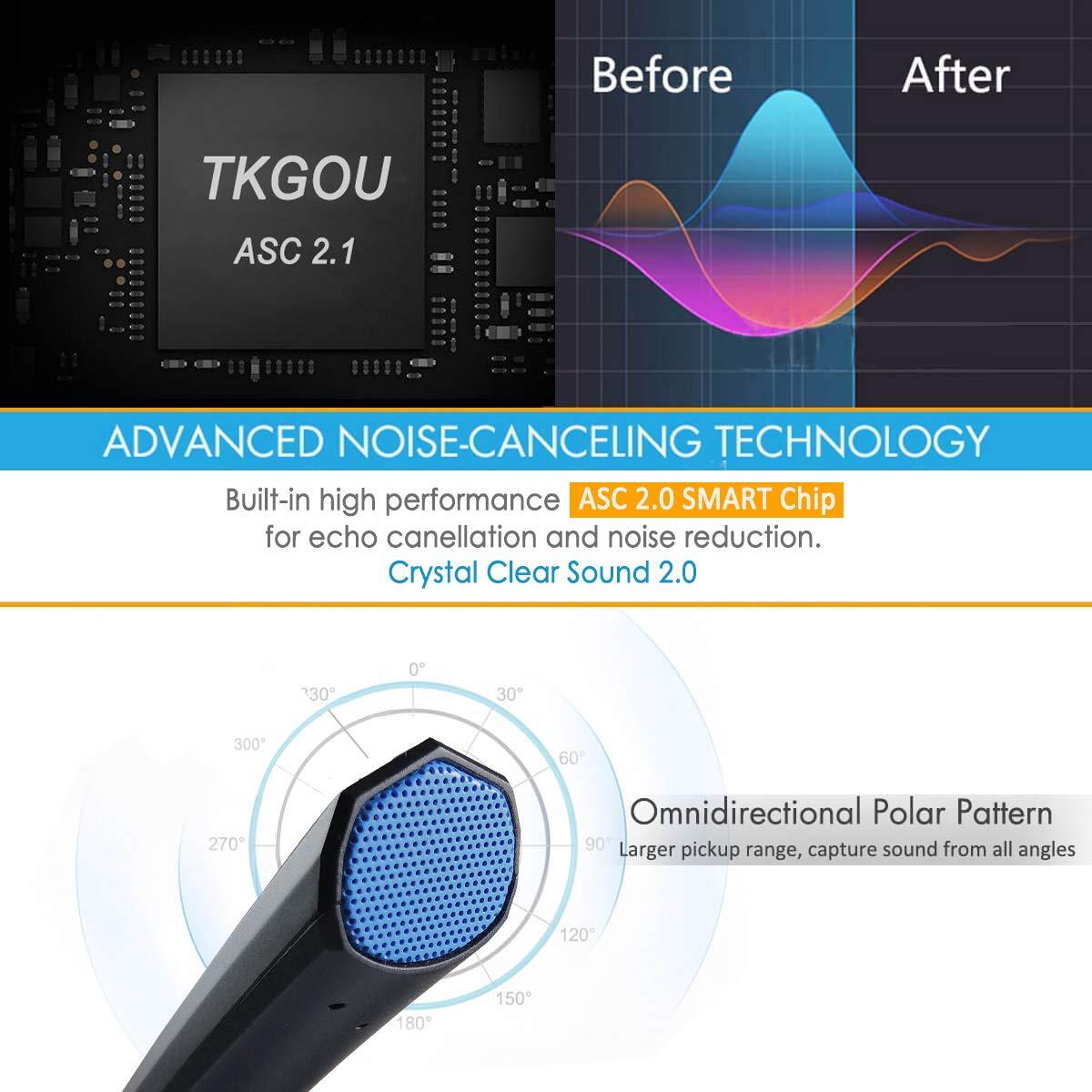 ⭐️TKGOU USB PC Microphone Headphone Jack /& Mic Volume And Mute Control Recording Microphone For PC//PS4
