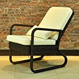 Outdoor Adjustable Wicker Recliner Chair with Cushions,...