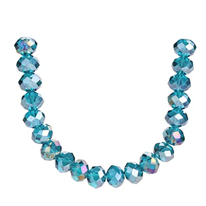 50 x 8mm Loose Peacock Blue Glass Faceted Beads Crystal