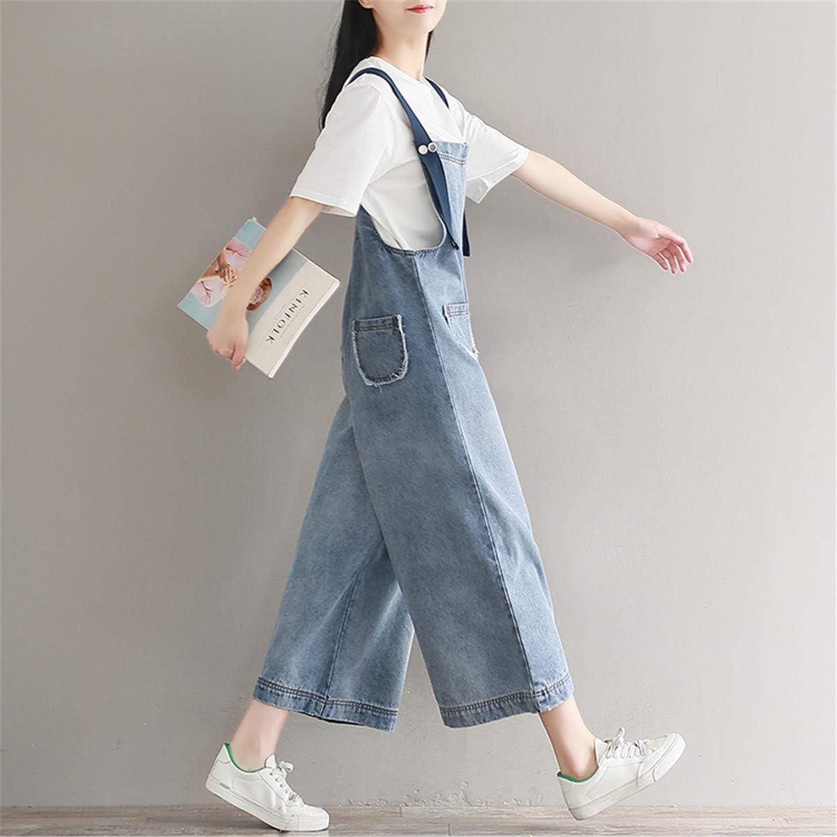 Morbuy Moda Jumpsuit Senza Maniche Colore Solido Pantalone di Jeans Tasche Overall Monopezzi Partito Playsuit Pantaloni Incinti Elegante Salopette da Buco Denim Donna Estiva