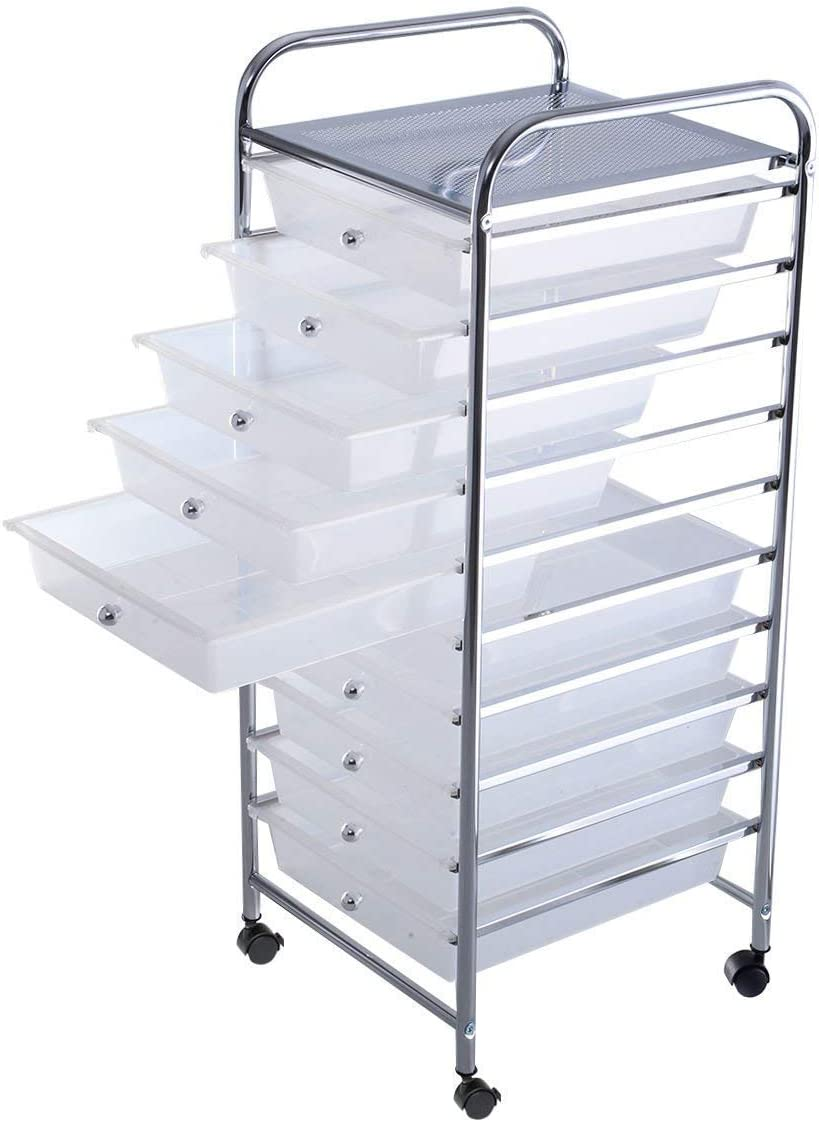Officejoy 10 Drawer Storage Cart Rolling Cart File Scrapbook Paper Mobile Organizer for School Office Clear