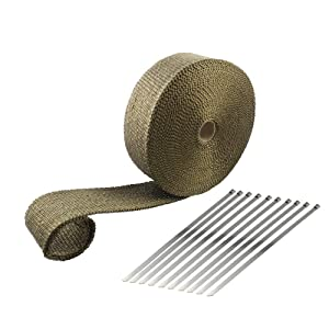 ARTR Titanium Lava Fiber 2 Inch x 50 Feet Exhaust Header Wrap Kit with 10pcs 11.8 Inch Stainless Steel Locking Ties