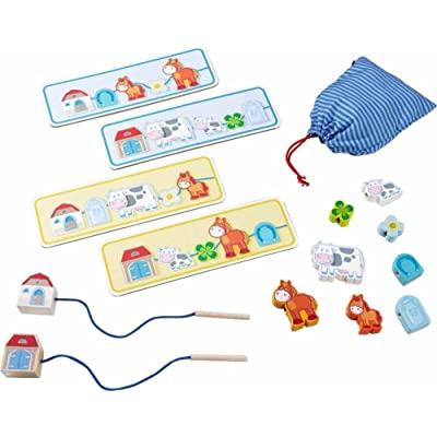 HABA On The Farm Threading Game with 10 Chunky Wooden Lacing Figures & 4 Templates (Made in Germany): Toys & Games