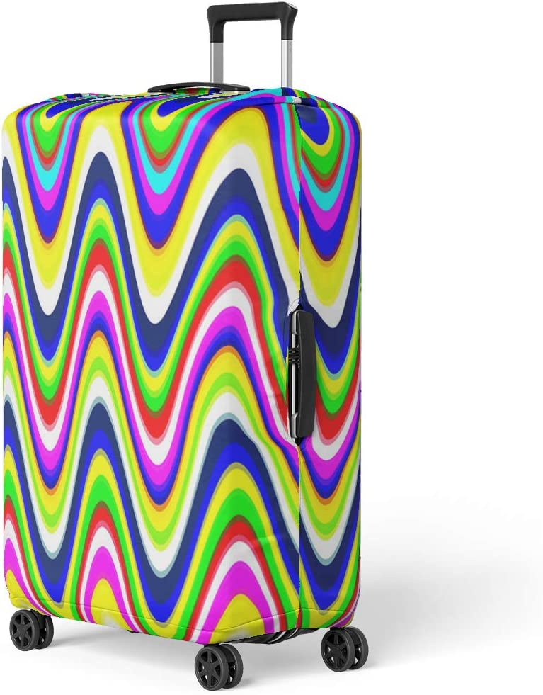 Pinbeam Luggage Cover Colorful Wavey Bright Vibrant Colors Digital Waves Pattern Travel Suitcase Cover Protector Baggage Case Fits 26-28 inches