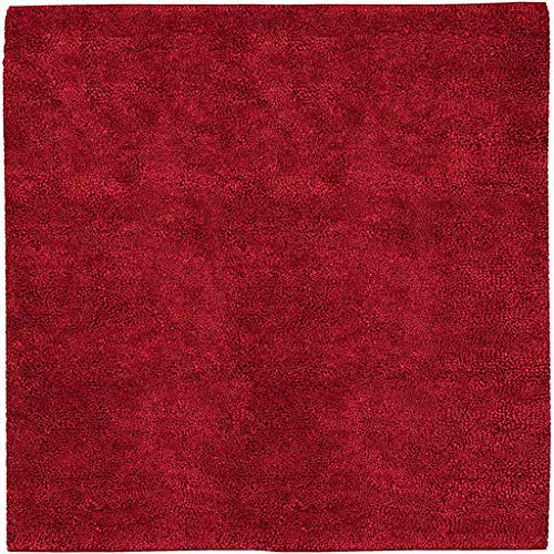 (Frederika Shag Plush Solid 8' Square Square Shag 100% Wool - Felted Burgundy Area Rug )