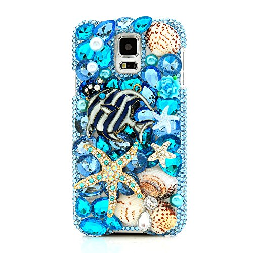 Samsung S5 Case, Galaxy 9600 Case - Mavis's Diary 3D Handmade Luxury Colorful Shiny Bling Crystal Rhinestone Diamond Starfish and Shell Design Hard Cover Clear Case for Samsung Galaxy S5 I9600 SM-G900A SM-G900T SM-G900P SM-G900V SM-G900R4 Developer Edition with Soft Clean Cloth (One Case&One Stylus Pen&One HD Screen Protector)