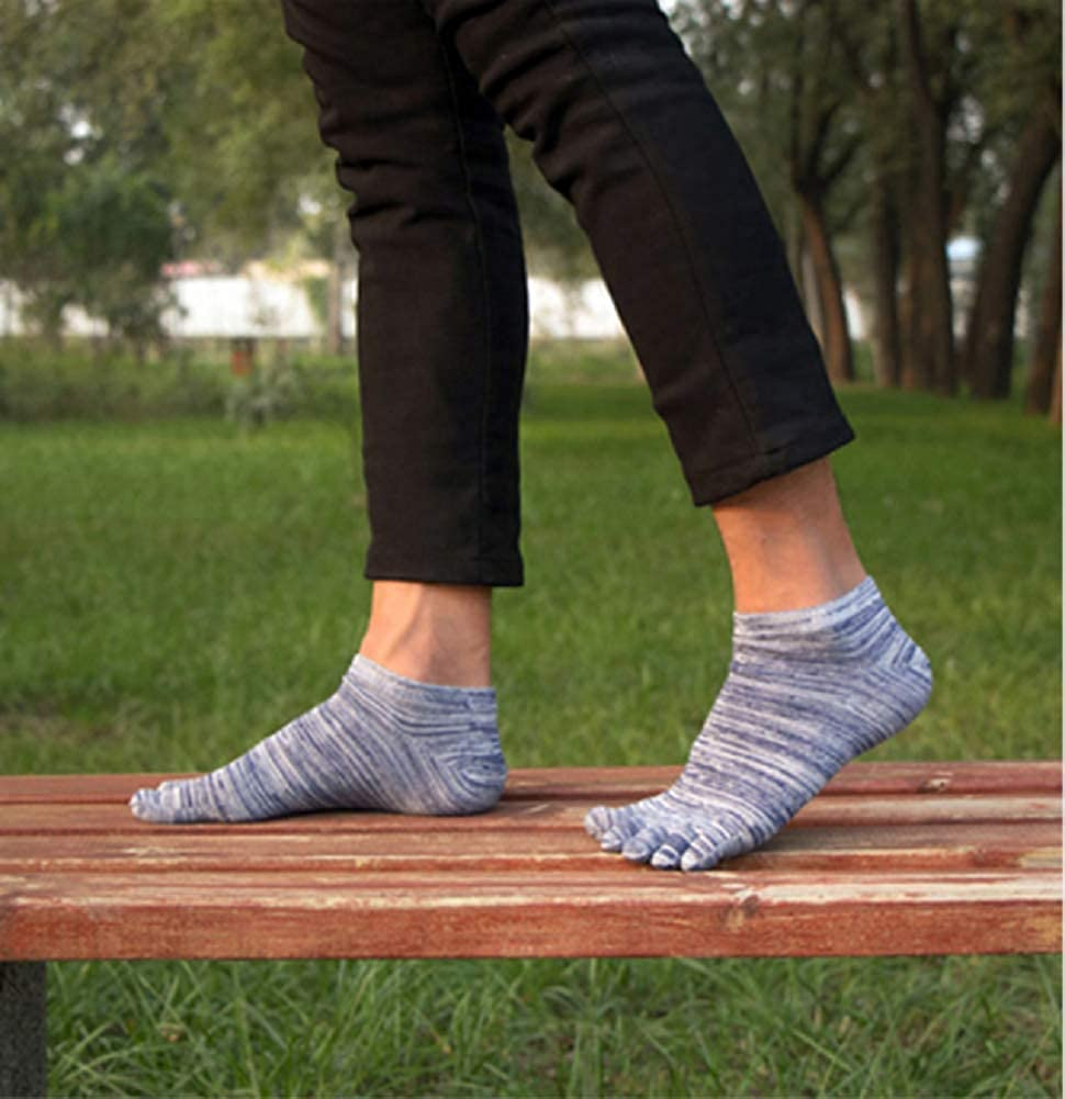 Mens Five Finger No Show Cotton Low Cut Athletic Running Toe Socks UK Size 5-11
