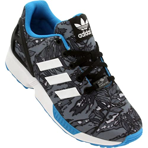 9d6df3b411d2 adidas ZX Flux K Kids Black White Blue Running Shoes Youth Sizes (7