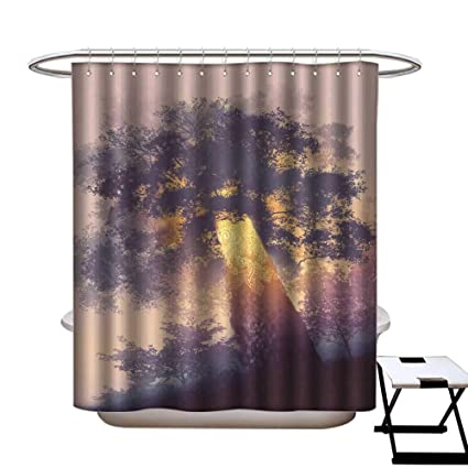 Warmfamily Home Decor Shower Curtain Magic Tree With Light Glowing Inside  Shower CurtainW54 X L78
