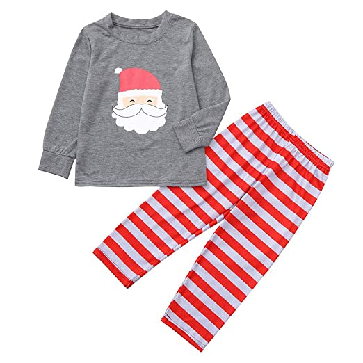 Image Unavailable. Image not available for. Color  Family Pajamas Matching  Sets Santa Claus Print Striped Long Sleeve Tops Pants Christmas Pjs ... 7f44c0b42