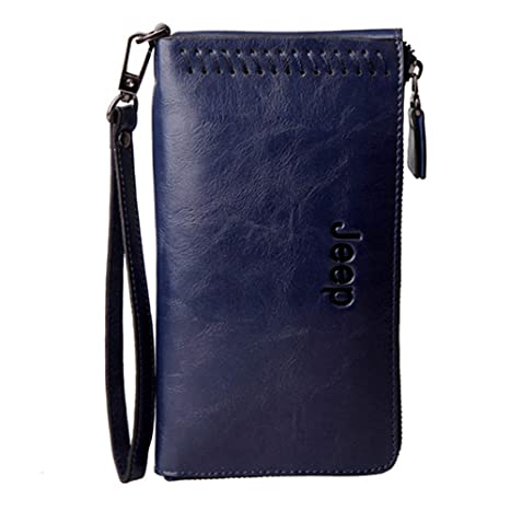 Bolsa de Mobilphone unisex con cera encerada de cuero Cartera de embrague de tarjeta de crédito ...