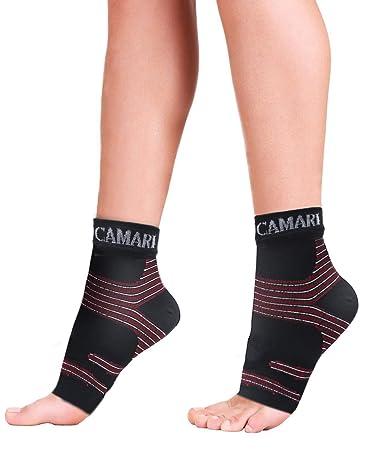 Camari Gear Sports Fußgelenk Bandage Kompressionsstrümpfe (PAAR) - Fersensporn Bandage für Schmerzlinderung bei Plantarfaszii