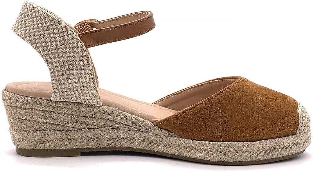 Angkorly Chaussure Mode Espadrille Sandale Confortable Pratique Chic Femme Simple Basique Classique avec de la Paille Talon compens/é