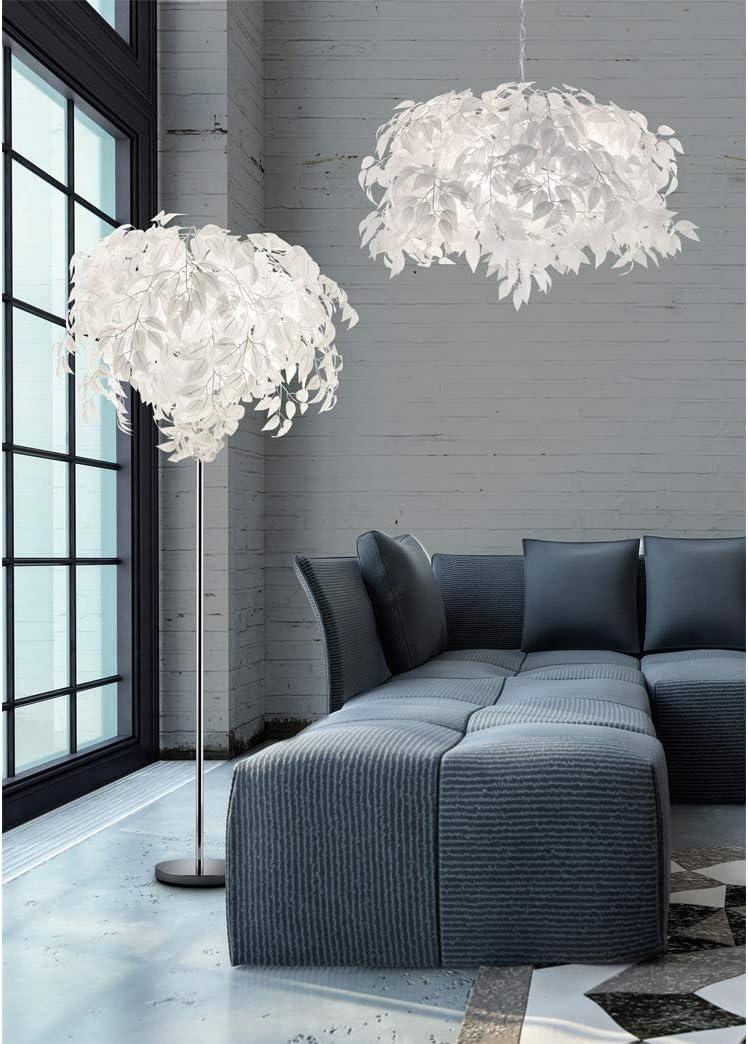 Reality Leuchten Ausgefallene LED Stehleuchte Lampenschirm Ø70cm - 180cm hoch, im weißen Blätterkleid in Feder Optik Stehleuchte 3 Flammig Ø 70cm