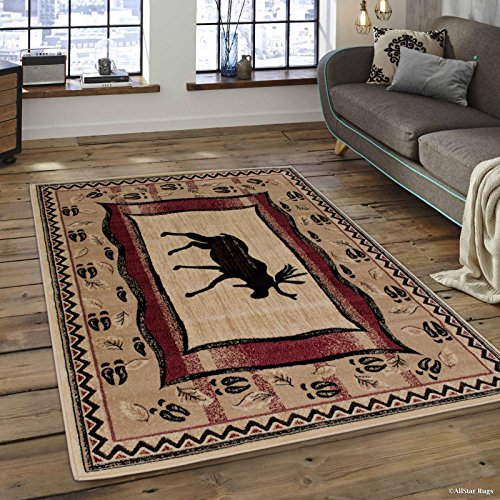 Espresso Rug - Allstar 8x10 Beige Cabin Rectangular Accent Rug with Mocha and Espresso Wildlife Moose and Moose Paw Print Design (7' 6