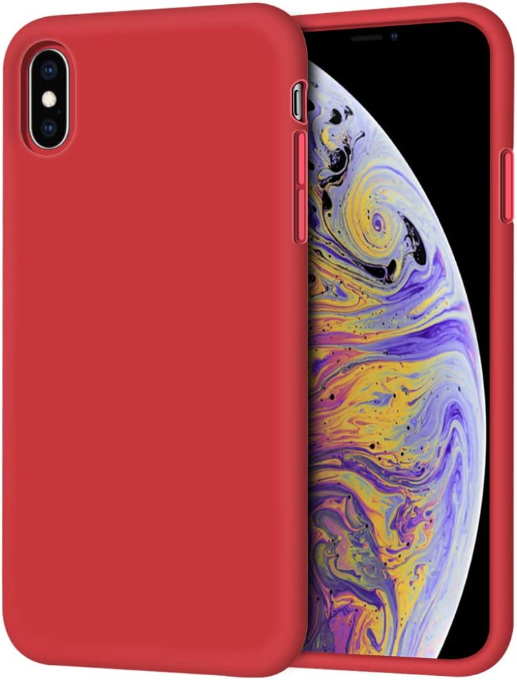 "iPhone Xs Max Case, Anuck Soft Silicone Gel Rubber Bumper Case Anti-Scratch Microfiber Lining Hard Shell Shockproof Full-Body Protective Case Cover for Apple iPhone Xs Max 6.5"" 2018 - Red"