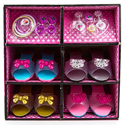 Looking Up Girls Dresses (Toysery Fashion Girl Princess Dress Up & Play Shoe and Jewelry Boutique Play Set | Play Gift Set with 4 Pairs of Shoes, Earrings, Bracelets Rings | Shoes and Jewelry)