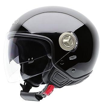 NZI Center BTMB Casco de Moto con Bluetooth, Negro Brillo, 60-61 (