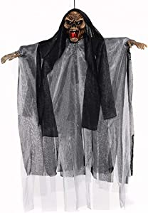 WSJ Halloween Decoration Hanging Ghost Light Up Eyes Scary Voice Sound Control Halloween Props Haunted House Indoor Outdoor Decor-Black