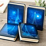 Sleepwalker Eiffel A6 Journals/Notebooks, Handbook 4 kinds Inside Pages Book Diary Hardcover Classic Writing notebook 128 Pages Thick Paper Business Gift for Girls Set of 1 (random 1 color)