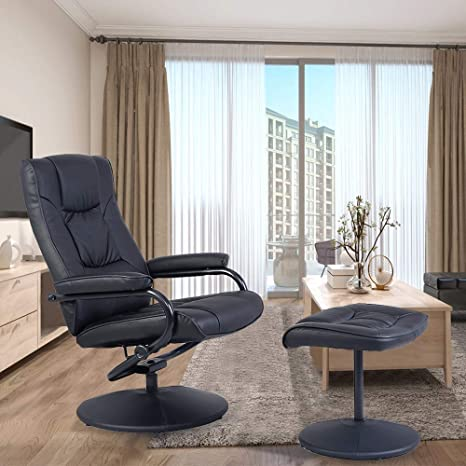 Pleasant Swivel Recliner Chair Waterjoy Pu Leather Lounge Armchair Recliner 360 Degree Swivel Overstuffed Padded Seat Chair With Footrest Stool Ottoman Set Creativecarmelina Interior Chair Design Creativecarmelinacom