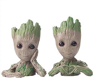 Miaowoof Flowerpot Treeman Baby Groot Succulent Planter Cute Green Plants Flower Pot (style1+ Style 2)