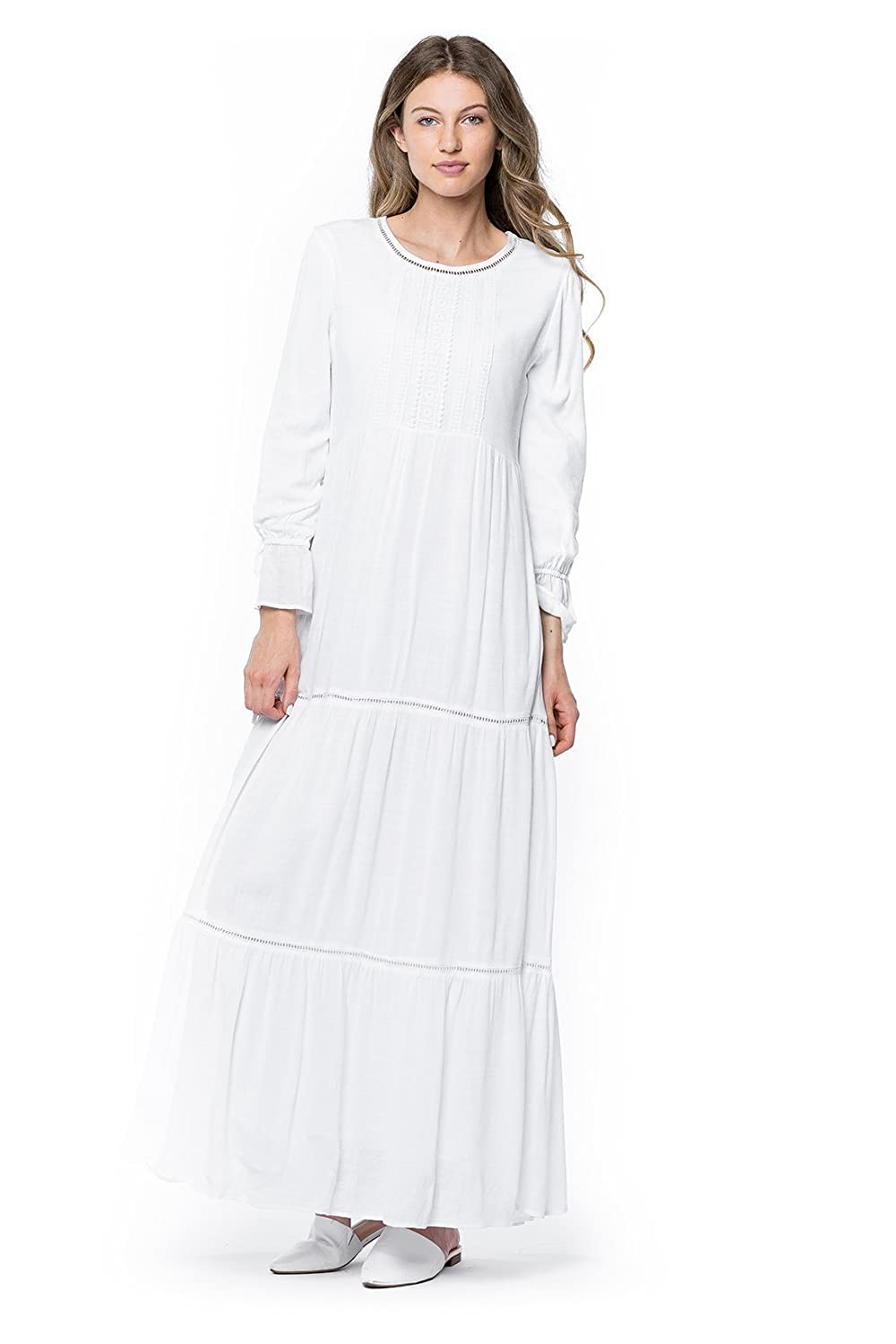 Cottagecore Clothing, Soft Aesthetic ModWhite White Camellia Dress $94.00 AT vintagedancer.com