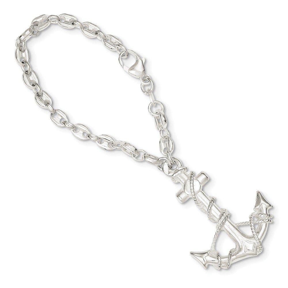 925 Sterling Silver Anchor Key Ring