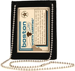 product image for Boston Leather 5845NPB Badge and Id Holder with Neck Chain Plain Finish (Black Leather). Fits around the Neck, In a Pocket or on a Belt