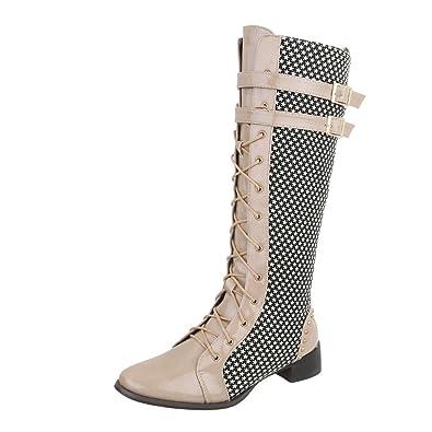 01ab6fbb8e91b0 Ital-Design Schnürstiefel Damen-Schuhe Schnürstiefel Blockabsatz Schnürer  Reißverschluss Stiefel Rot Multi