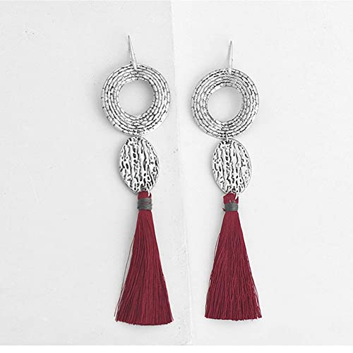 c2644b787 Amazon.com: Boho Long Fringe Tassel Drop Earrings Silver Round Circle Red  Tassels Hanging Drop Earrings: Handmade
