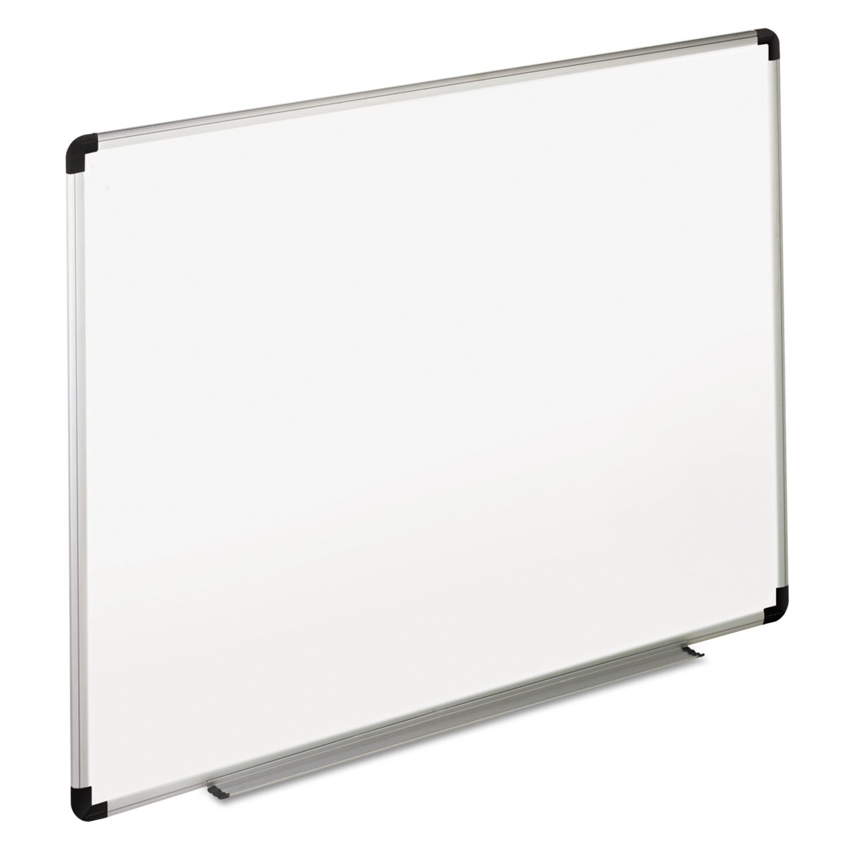 Universal Dry Erase Board, Melamine, 72'' x 48'', White, Black/Gray Aluminum/Plastic Frame