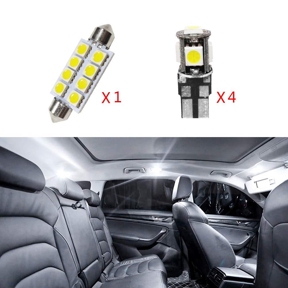 per Fiesta Hatchback No sunroof saden Super Luminoso Sorgente luci Interne a LED Lampada per Auto abitacolo Lampadine di Ricambio Bianca Confezione da 4