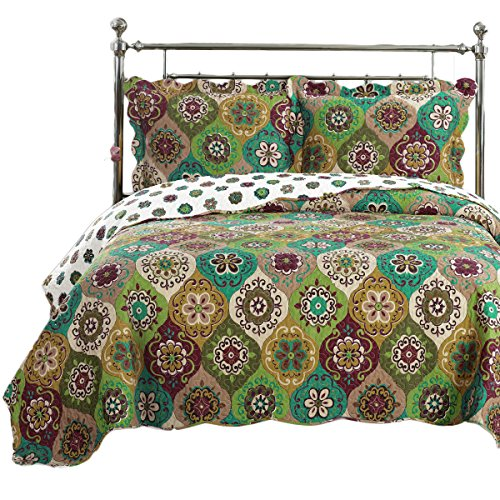 Royal Tradition Bonnie Printed Microfiber Oversized Full-Queen 3PC Quilt Set, Shades of Green, Gold and Burgundy