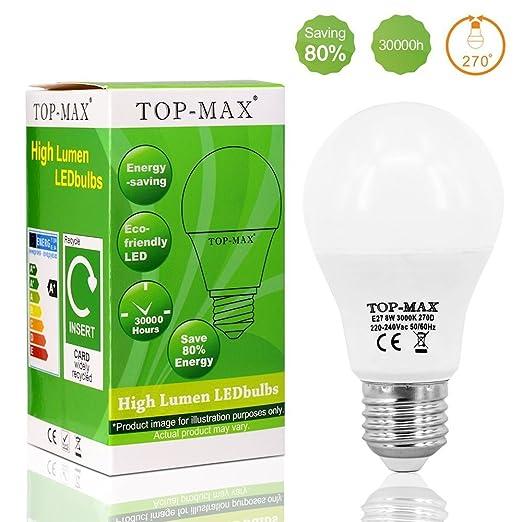1 pieza E27 8 W 3000 K luz blanca cálida Bombilla LED bombilla ahorro de energía ...