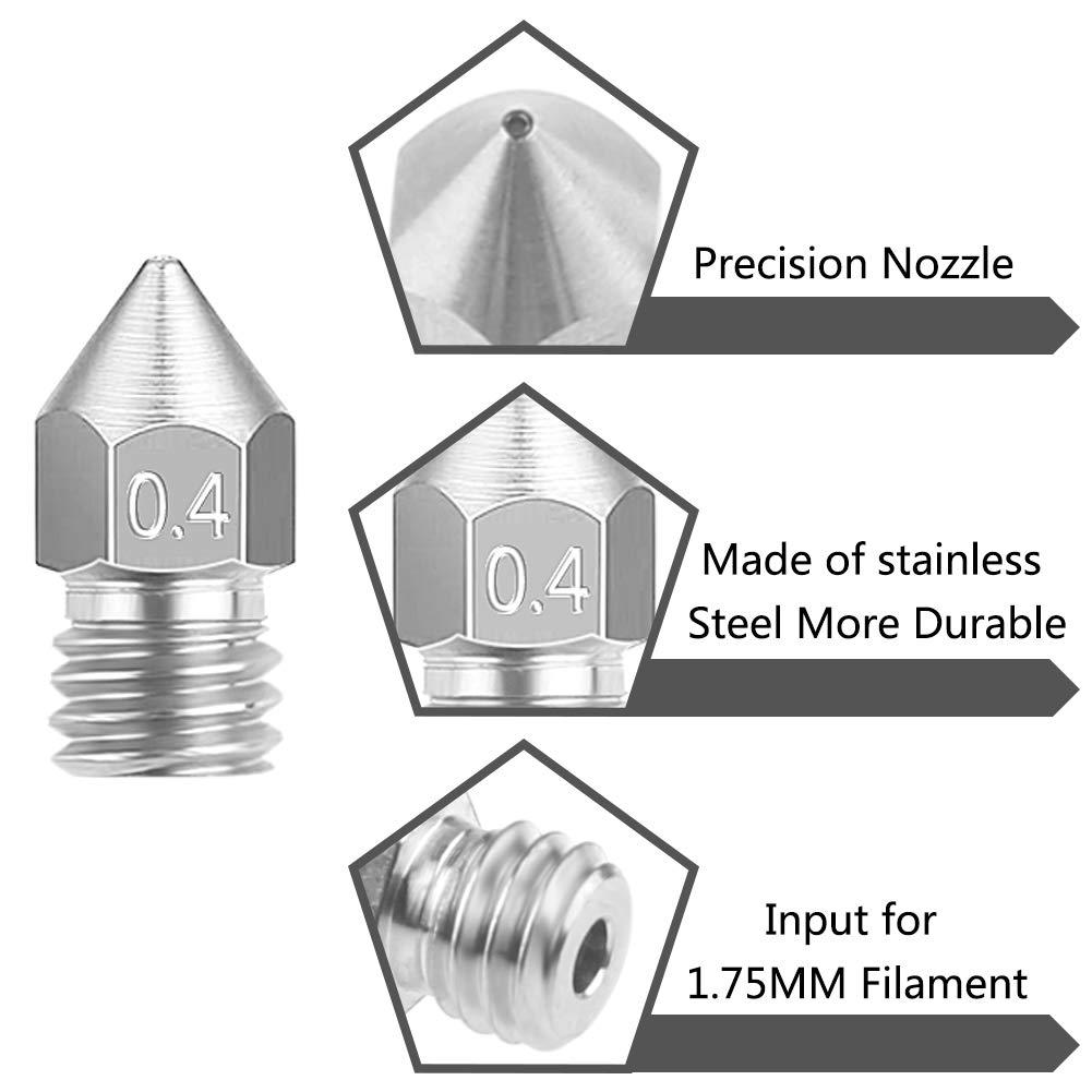 0,3 mm WXJ13 Lot de 10 embouts pour imprimante 3D MK8 5 tailles 0,5 mm 0,2 mm 0,6 mm pour filament dimprimante 3D 1,75 mm et 5 aiguilles de nettoyage et bo/îte 0,4 mm