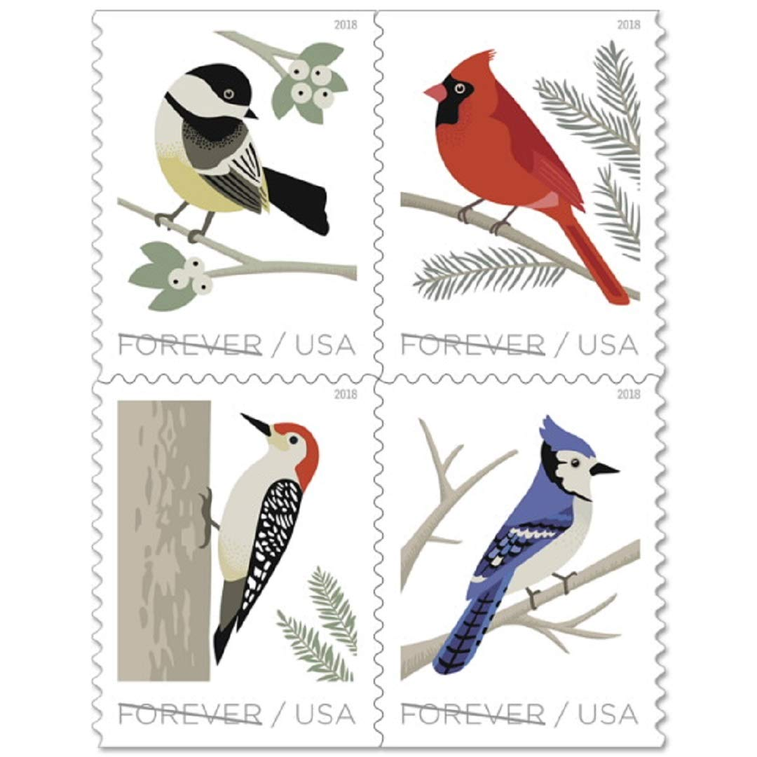 USPS Forever Stamp Sheets Featuring Birds (5 Sheets, Birds in Winter)