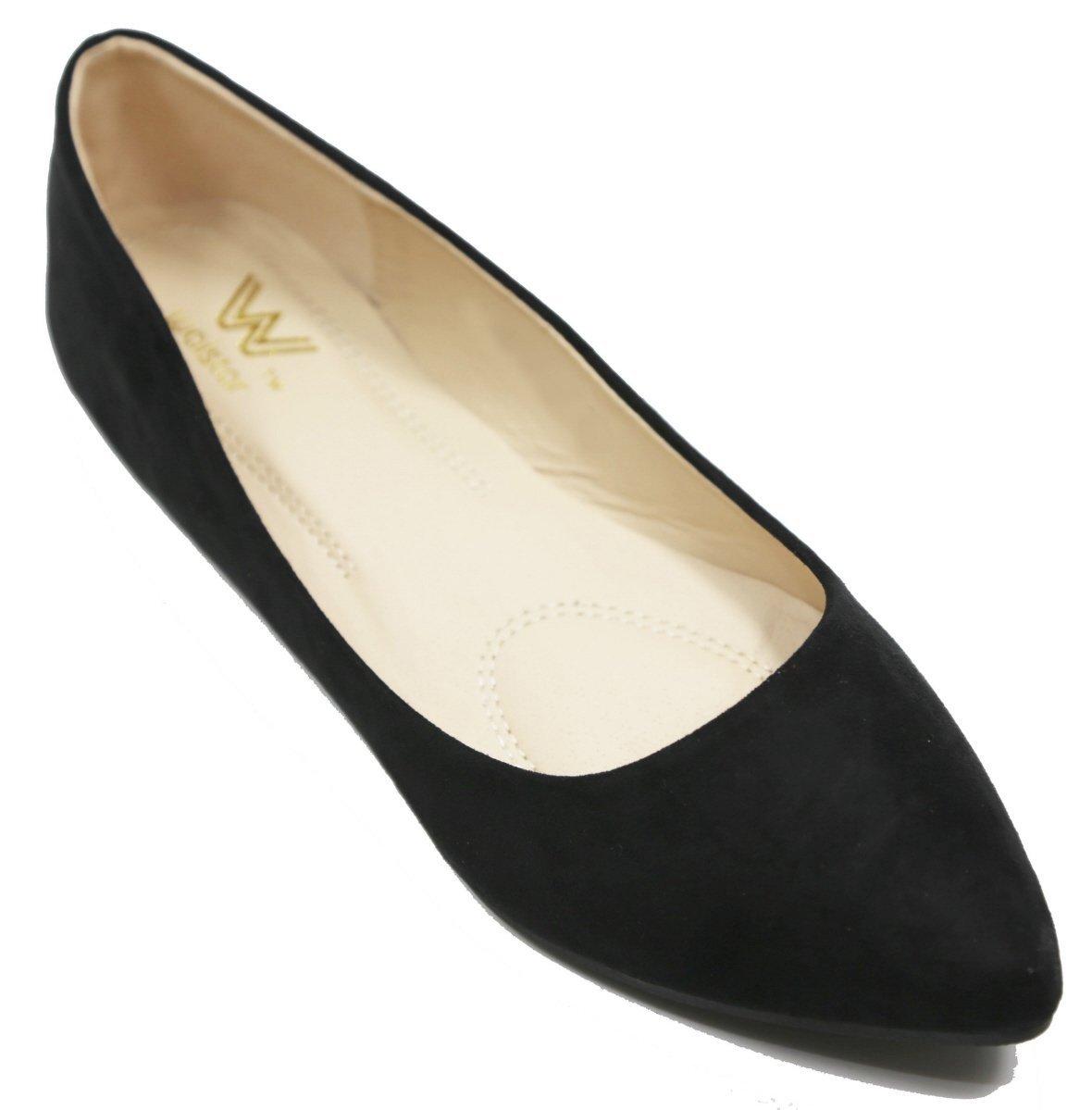 Walstar Women's Basic Point Toe Ballet Flats B00U6L7IAI 7.5 B(M) US|Su7-black
