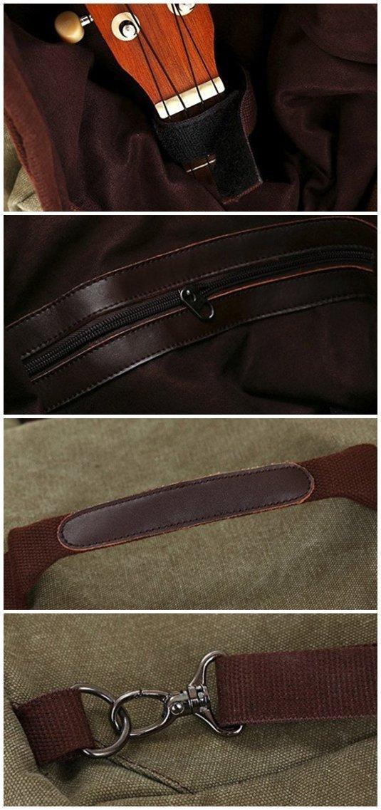 ELEOPTION Durable Ukulele Backpack Soprano bag Ukulele Accessories With Adjustable Straps For 21inch 23inch 24inch Ukulele bag (Army Green)