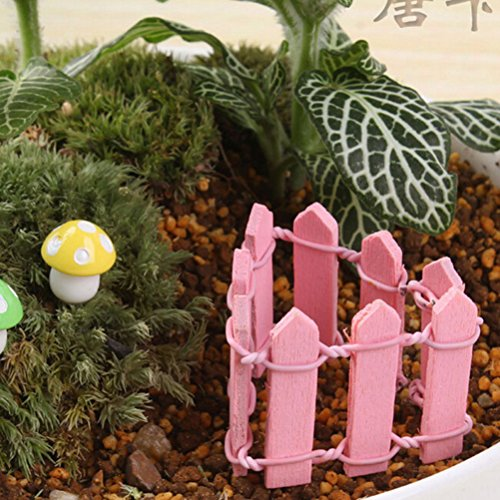 VT BigHome Retail 10 colors fence miniatures fencing fairy garden gnome moss terrariums resin crafts decorations for home and garden ()