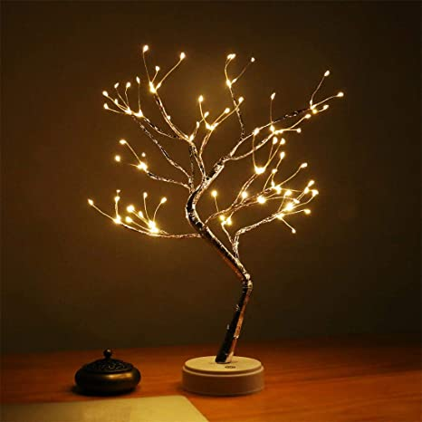 Amazon Com Amars 20 Inch Bonsai Tree Desk Table Led Lamp Lights Battery And Usb Plug In Design Decorative 108leds Artificial Tree Decoration For Bedroom Living Room Home Touch Switch Diy Lighted Branches