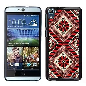 HTC Desire D826 , JackGot - Impreso colorido protector duro espalda Funda piel de Shell (Líneas Patrón Rojo Negro floral blanca)